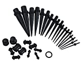 CrazyPiercing Black Taper Stretching Guages Kit with Black Acrylic Plug Kit 30 Pieces (30 pcs) (black)