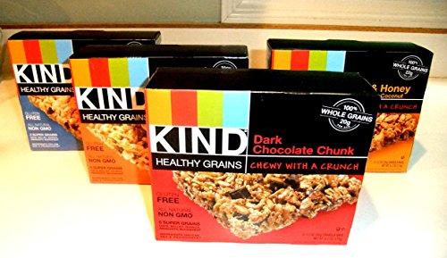 KIND Healthy Grains Granola Bars, VARIETY 4 PACK: DARK CHOCOLATE CHUNK, OATS & HONEY, PEANUT BUTTER DARK CHOCOLATE, VANILLA BLUEBERRY. 5 bars in each box. (4 PACK)