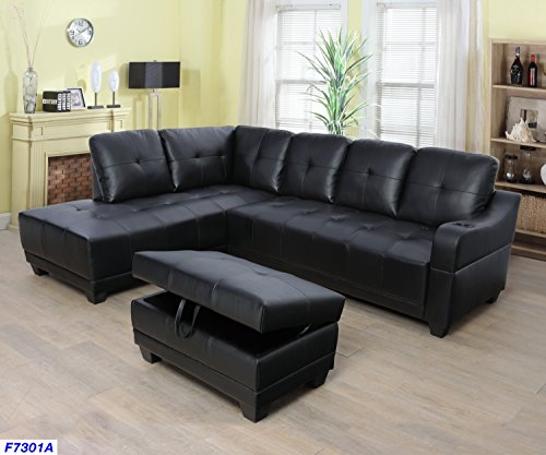 (Beverly Fine Funiture CT7301A Sectional Sofa Set, Black )