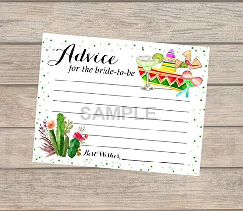 (Fiesta Bridal Shower Advice Cards, Set Of 20, Fiesta Advice For The Bride To Be Cards, Mexican Theme Bridal Shower Advice Cards, 4.25