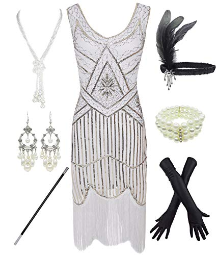 1920s Gatsby Sequin Fringed Paisley Flapper Dress with 20s Accessories Set (L, White)