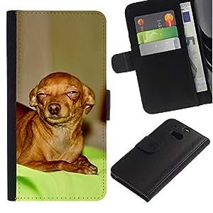 EuroCase - HTC One M8 - skeptical Chihuahua canine pet canine - Cuero PU Delgado caso cubierta Shell Armor Funda Case Cover