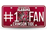 NCAA Alabama Crimson Tide Bling #1 Fan Metal Auto Tag Plate, 12 x 6-Inch, Silver