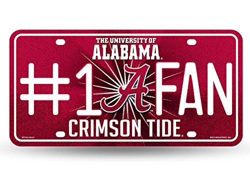 NCAA Alabama Crimson Tide Bling #1 Fan Metal Auto Tag Plate, 12 x 6-Inch,