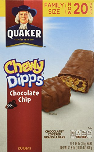 Quaker Chewy Dipps Chocolate Chip Granola Bars, 1.09 oz, 20 count