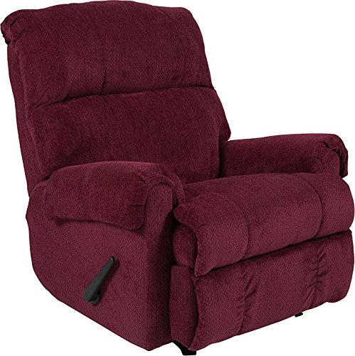 Emma + Oliver Kelly Burgundy Super Soft Textured Microfiber Rocker Recliner