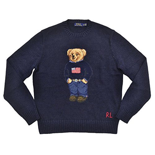 Knit Teddy Bear Sweater (Polo Ralph Lauren Men's Polo Bear Cable Knit Sweater (M, Navy))