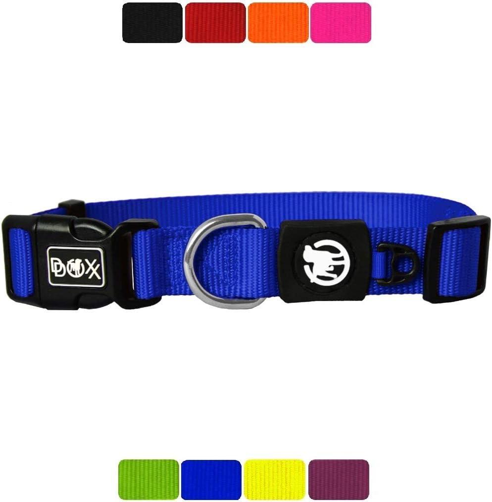 DDOXX Collar Perro Nylon, Ajustable | Diferentes Colores & Tamaños | para Perros Pequeño, Mediano y Grande | Collares Accesorios Gato Cachorro | Azul, M