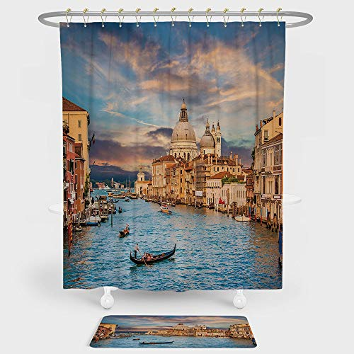 n And Floor Mat Combination Set Gondola on Famous Canal Grande with Basilica di Santa Maria della Salute in Evening For decoration and daily use Blue Cream ()