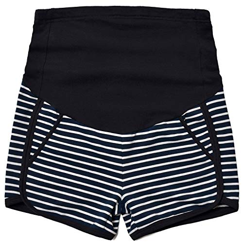 GINKANA Maternity Shorts Summer Pregnancy Casual Short Pants Relaxed Fit Stretchy Full Panel Short