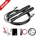 [2 Pack] Jump Rope-Best MMA Boxing Crossfit Workout-Exclusive Ergonomic Aluminum Handle-Men-Women-Adjustable a Bonus Jump Rope-Carry Bag-Spare Rope-Screw Kit-Gift Box-Ebook (Black)