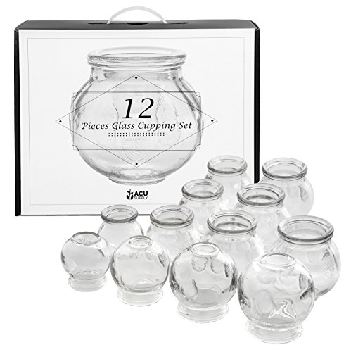 Glass Cupping Therapy Set With Guidance On Application And Aftercare - Multi Size 12 Piece Pack ()