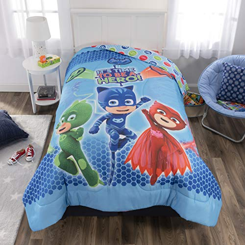 "PJ Masks Kids Bedding Soft Microfiber Reversible Comforter, Twin/Full 72"" x 86"", Blue"