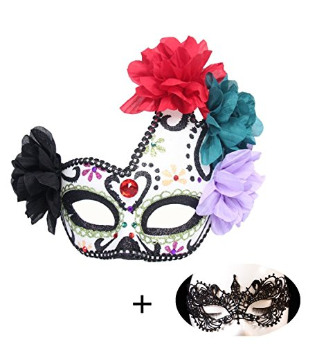 Haojing Masquerade Carnival Mardi Gras Costume Venice Halloween Party Mask with Feather Flower and Gift(Ghost Black+Lace) -