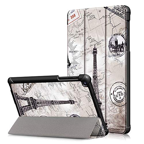 Samsung Galaxy Tab A with S Pen 8.0'' SM-P200/ P205 (2019) Folding Slim Case,DETUOSI Stand Shell with Frosted Back.【Not Fit (2015-2018) Tab A 8.0 Tablet Model:SM-T350/ T380/T385/ T387】, Retro Tower