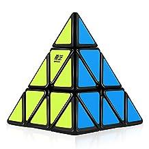 D-FantiX Qiyi Qiming Pyraminx 3x3 Speed Cube Triangle Magic Cube Puzzle Chrisiftmas Toys Gts for Kids (Black)