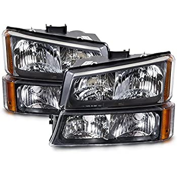 Amazon 2003 2004 03 04 chevy silverado headlight assembly headlights depot replacement for chevy silveradotruck 4 piece chrome new headlights set wruning lights freerunsca Images