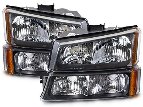 Silverado 1 Piece Headlight (Chevy Silverado/Truck 4-Piece Chrome New Headlights Set w/Runing Lights)
