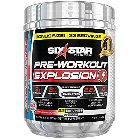 Six Star Explosion Pre Workout Explosion, Powerful Pre Workout Powder with Creatine, Nitric Oxide, Beta Alanine and Energy, Icy Rocket Freeze, 231g, 33 Servings (Packaging may - Health Star