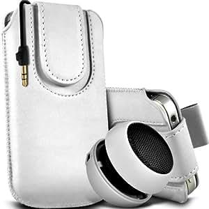 Sony Xperia T premium protección PU botón magnético ficha de extracción Slip In Pouch Pocket Cordón piel cubierta de la caja de liberación rápida y Mini recargable portátil de 3,5 mm Cápsula Viajes Bass Speaker Jack White por Spyrox