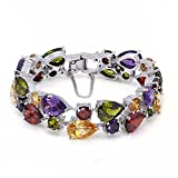 HERMOSA Christmas Gifts Classic Ladies Bracelet Garnet White Topaz Amethyst Citrine Peridot Pink Topza 7 Inches