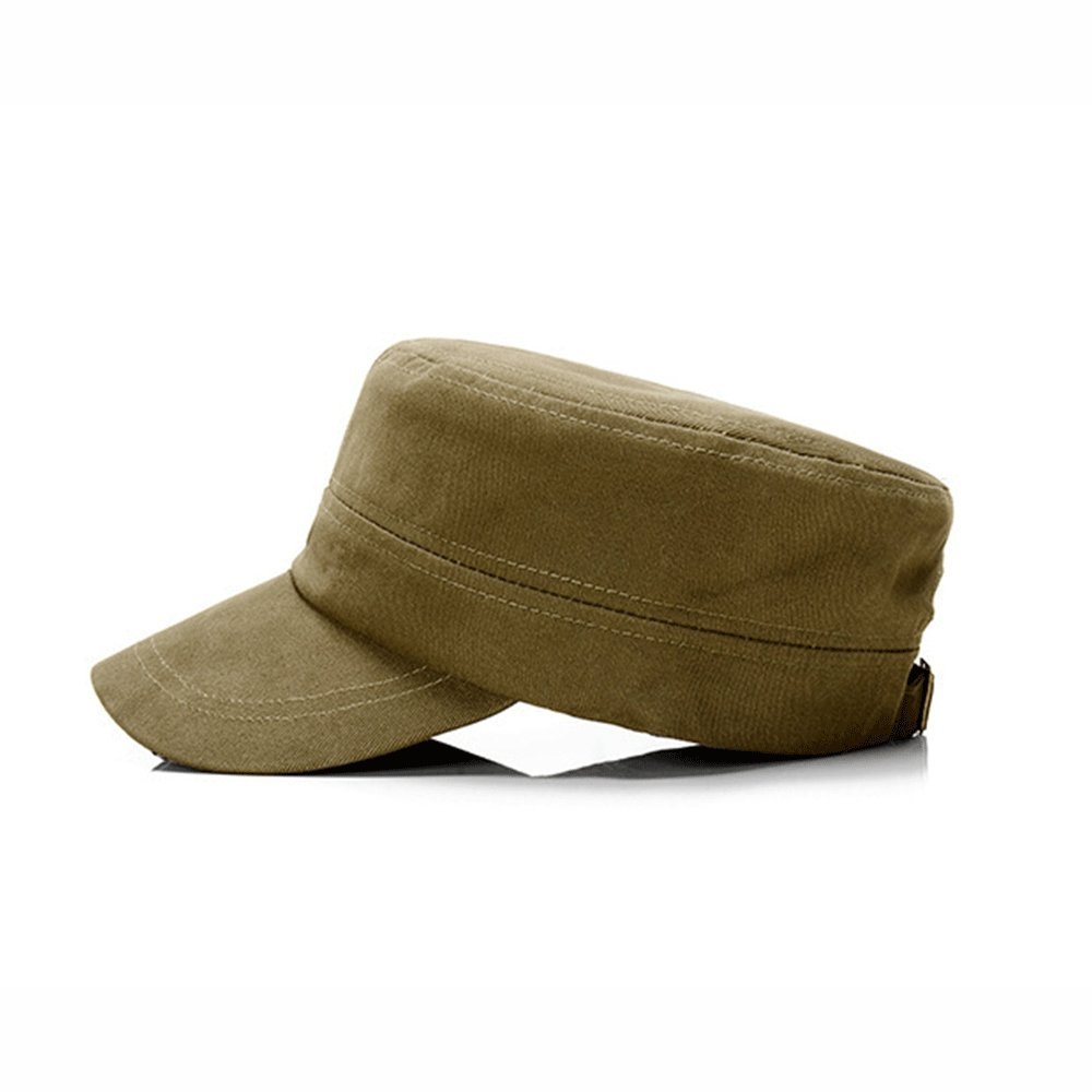 4ae25cb6b6b ALL IN ONE CART Mens Cotton Cadet Army Cap Flat Top Military Adjustable  Strap Plain Baseball