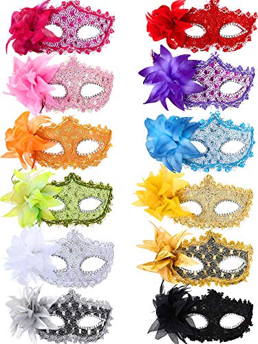 TOODOO 12 Pieces Half Mardi Gras Masquerade Mask Venetian Masks Set for Carnival Prom Ball Fancy Dress Party Supplies (Style -