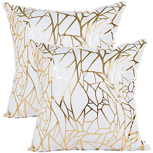 Vinerstar White Sofa Throw Pillow Covers 18 x 18 (45cm x 45cm) Gold Stamping Love Tree Geometric Square Decorative Super Soft Cushion Cover for Sofa Couch Patio Set of 2 (Irregular and Irregular) (White Gold Pillow)