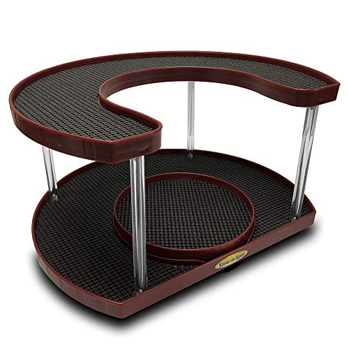 Stow-n-Spin Wine Deluxe 2 Tier Lazy Susan Turntable Spice Rack Organizer for Cabinet with Double Turntable Spinner Fits 11
