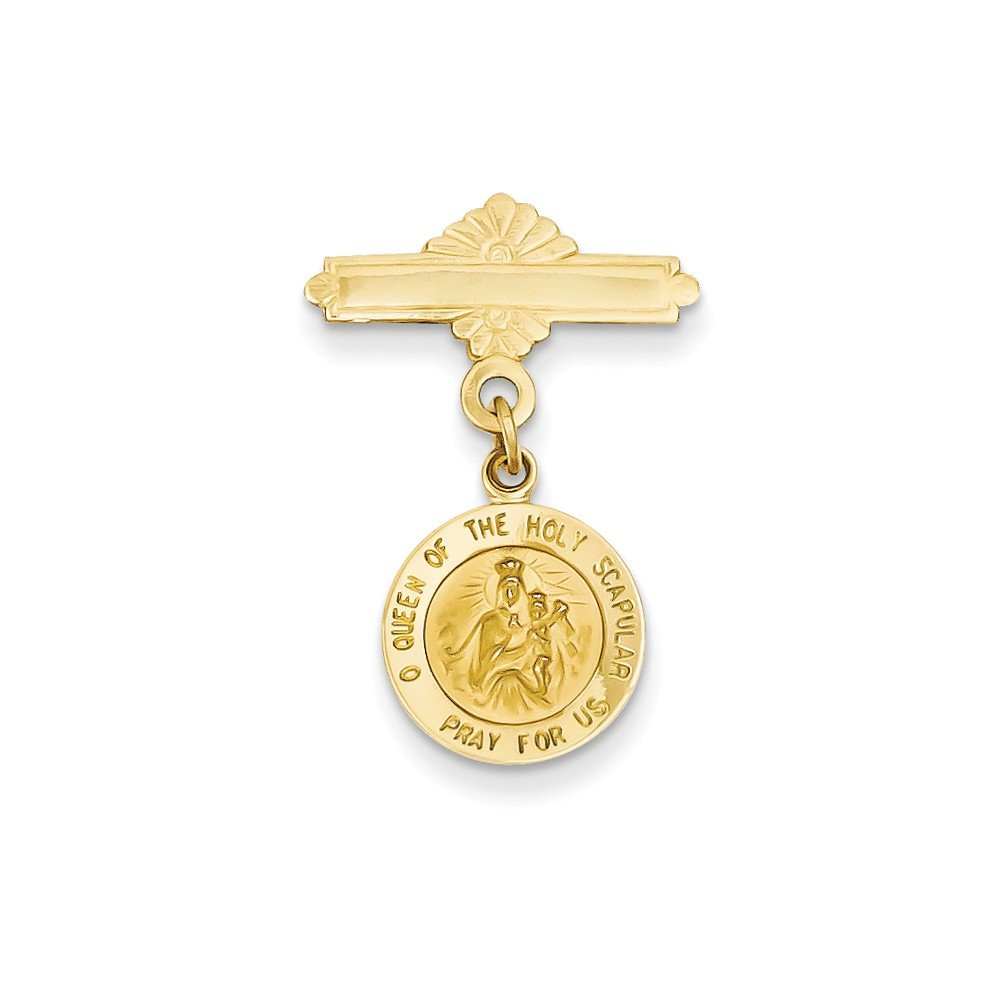 Perfect Jewelry Gift 14k Reversible Queen of the Holy Scapular/Sacred Heart Medal Pin