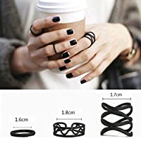 3PCS Fashion Midi Finger Ring Set Womens Black Above Knuckle Band Cute Rings
