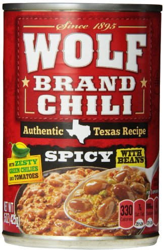 - WOLF BRAND Spicy Chili with Beans, Zesty Green Chilies & Tomatoes, 15 oz. (pack of 12)