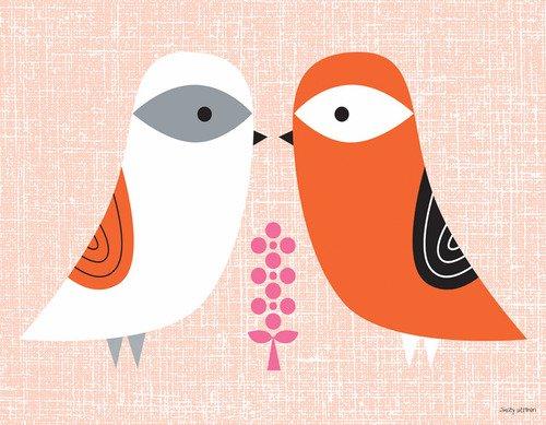 Oopsy Daisy Blandford Birdies - Spring Canvas Wall Art 18x14 Orange
