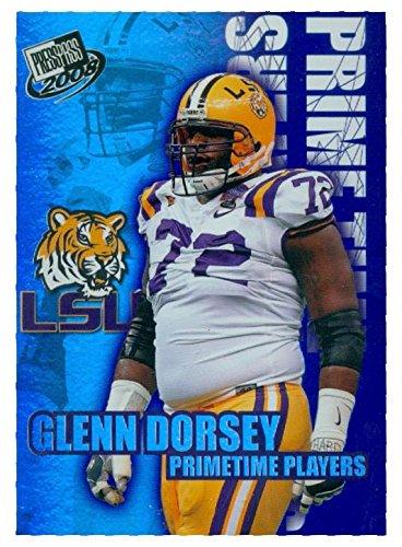 Glenn Dorsey football card (LSU Tigers) 2008 Press Pass #PP1 Prime Time Players Insert Refractor