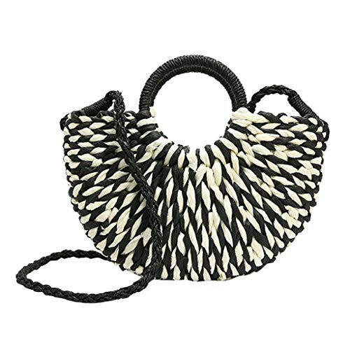 Contrast Straw Tote - ABCOnline Women Hand-woven Straw Totes Large Contrast Color Hobo Bag Round Handle Ring Retro Crossbody Bag Summer Beach Bag
