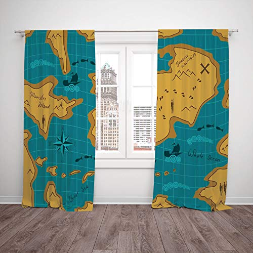 SCOCICI Thermal Insulated Blackout Window Curtain [ Island Map,Historical Adventure Map Pattern Sail Boats Direction Route Track Graphic,Orange Blue] Bedroom Living Room Dorm Kitchen Cafe for $<!--$38.22-->