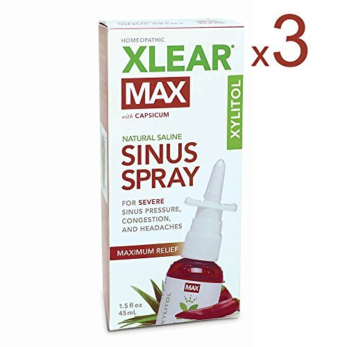 XLEAR MAX Nasal Spray, 1.5oz, 3 Pack, New! Natural Formula With Xylitol, Capsicum, and Aloe for Maximum Relief From Severe Sinus Pressure, Congestion, Headaches, and Dryness by Xlear