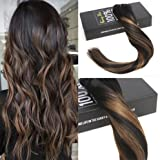 Sunny Full Head Clip in Remy Human Hair Extensions Balayage Natural Black to Medium Brown Highlight Black Seamless Human Hair Extensions 7pcs 120gram for Beautiful Hairstyle 18inch