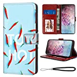 Wallet Case with Magnetic Closure for Galaxy Note 10+ 5G (2019) 6.8-Inch Red Hot Peppers Feature