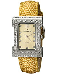 Women's 344MS Silver-Tone Swarovski Crystal Accented Mustard Leather Strap Watch