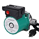 "HOMPAT 3/4"" NPT Hot Water Recirculating System Circulation Water Pump for Solar Heater Systems with US Plug (RS15-6 SS Green)"
