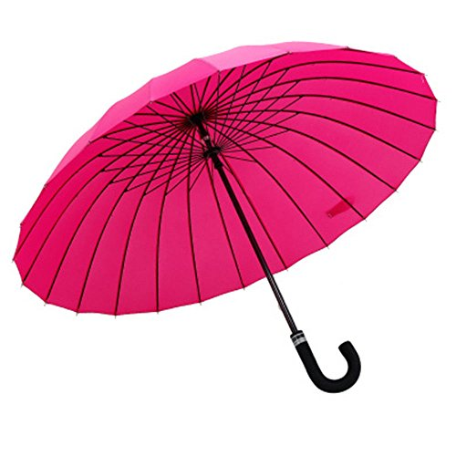 Guoke 24 Bones Long Handle Umbrella Double Extra Large Curved Handle, A Fine Rain Umbrella, The Red by Guoke