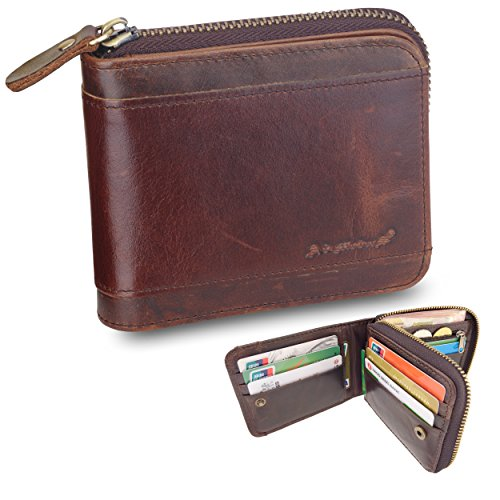 Admetus Men gifts Genuine Leather Short Zip Cowhide Wallet credit card ID Purses 10 - Snap Fold Bi