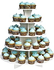 "The Smart Baker 5 Tier Round Cupcake Stand PRO- Holds 90+ Cupcakes ""As Seen on Shark Tank"" Professional Cupcake Tower"