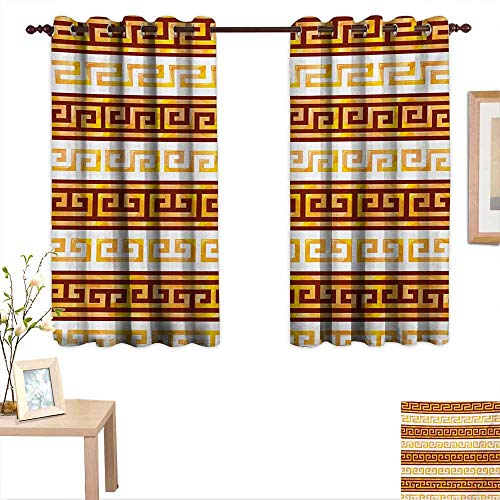 Toga Party Blackout Draperies for Bedroom Ancient Greek Cultural Tribal Geometric Meanders Figure Ornaments Design 63