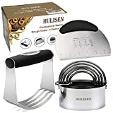 HULISEN Stainless Steel Pastry Scraper, Dough Blender & Biscuit Cutter Set (5 Pieces/Set), Heavy Duty & Durable with Ergonomic Rubber Grip, Professional Baking Dough Tools, Gift Package