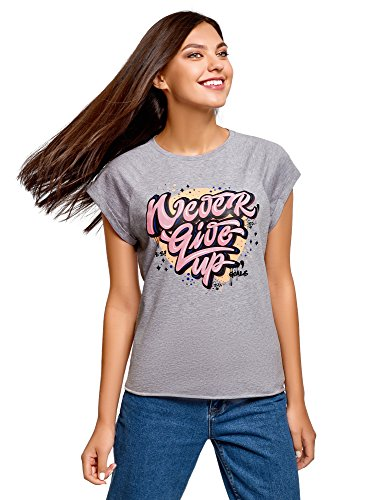 Scritta con Shirt e Ultra oodji Orlo Grezzo in 2041z Cotone T Donna Grigio Oanw0q6