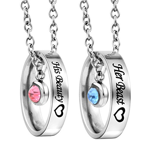 MJARTORIA Rhinestone Her Beauty His Beast Heart Engraved Ring Pendant Couple Necklace Set