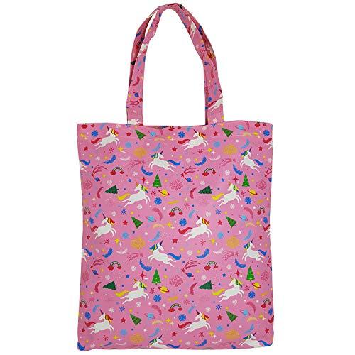 Adeley Cute Pink Medium Unicorn Rainbow Reusable Waterproof Shoulder Handbag Tote Bag for Women Kids -