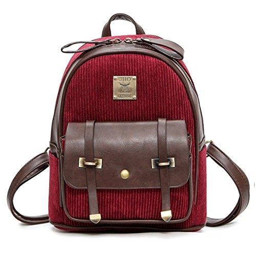 (JVP1017-B) Material de backpacing europeo negro 3way bolso mochila bandolera popular viajero de la escuela de recuperación de la escuela de moda de estilo casual Vino Tinto